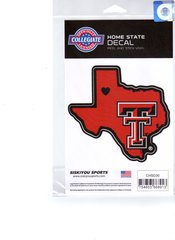 NCAA Texas Tech Red Raiders Home State Repositionable Vinyl Decal Auto Car NEW!!!