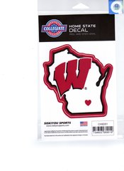 NCAA Wisconsin Badgers Home State Repositionable Vinyl Decal Auto Car NEW!!!