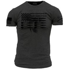 GRUNT STYLE AMMO FLAG GREY T-SHIRT USA PATRIOTIC
