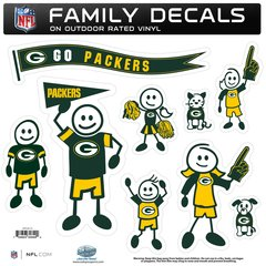 NFL Green Bay Packers Family Decals LARGE Auto Car Vinyl Stickers NEW!