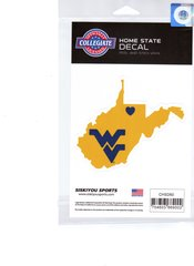 NCAA West Virginia Mountaineers Home State Repositionable Vinyl Decal Auto Car NEW!!!