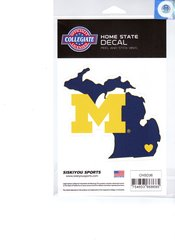 NCAA Michigan Wolverines Home State Repositionable Vinyl Decal Auto Car NEW!!!