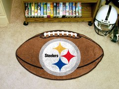 NFL Pittsburgh Steelers Sports Logo Football Shaped Area Floor Mat Rug