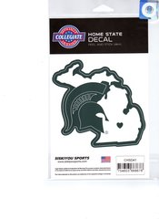 NCAA Michigan State Spartans Home State Repositionable Vinyl Decal Auto Car NEW!!!