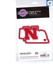 NCAA Nebraska Cornhuskers Home State Repositionable Vinyl Decal Auto Car NEW!!!