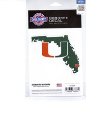 NCAA Miami Hurricanes Home State Repositionable Vinyl Decal Auto Car NEW!!!