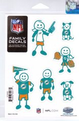 NFL MIAMI DOLPHINS Family Decals Auto Car Vinyl Stickers NEW!