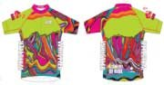 Neon Green Ladies Full Zip Short Sleeve Cycling Jersey. CLUB fit.