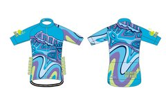 Looking South Men's Full Zip Short Sleeve Cycling Jersey.