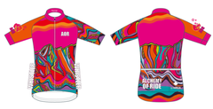 Neon Pink Armchair Ladies Full Zip Short Sleeve Cycling Jersey. CLUB fit.
