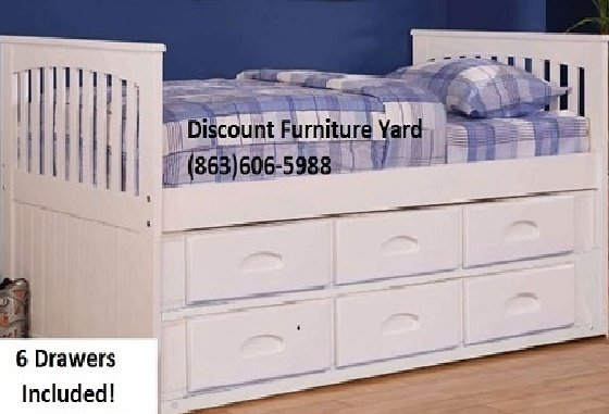 30 0118 0235 6 Twin Captains Bed With 6 Drawers Included White Finish Discount Furniture Yard