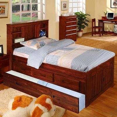 2821/3 full size captains bookcase bed with 3-drawer and twin