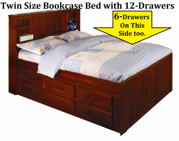 30 0118 2820 12 Twin Size Captains Bookcase Bed With 12 Drawer Unit Included Discount