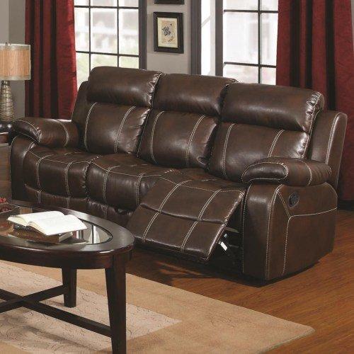 40-0118-603021 . Motion Sofa * Leather-Like* Chestnut