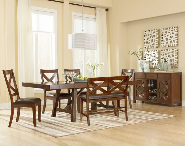 16180 6-Piece Dining Room Set TABLE+(4)SIDES+BENCH \