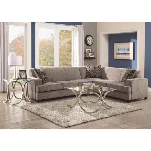 500727 Sectional Tess Collection Grey Micro Velvet Discount Furniture Yard And Mattress