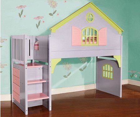 30 0118 0300 Doll House Twin Loft Staircase Bed 4 Drawer Chest Included Discount Furniture