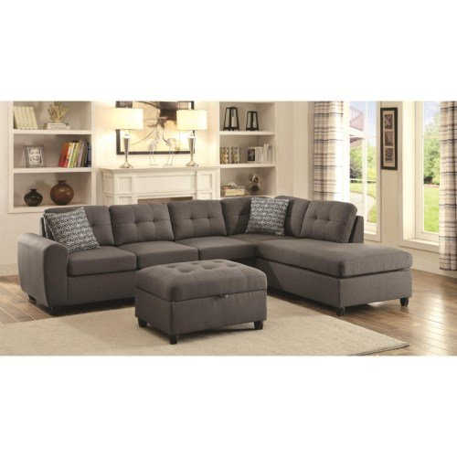 500413 Sectional Stonenesse Gray Button Tufted Cushions Discount Furniture Yard And