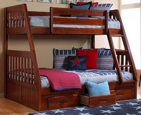 30 0118 2818 Twin Full Bunk Bed Merlot Cherry Finish Discount Furniture Yard And Mattress