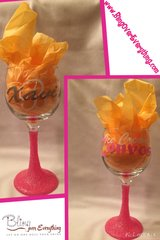 Customized Glitter Wine Glasses (Double Sided)