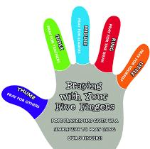 (b) God is Good Five Finger Prayer Magnets: Packs of 10