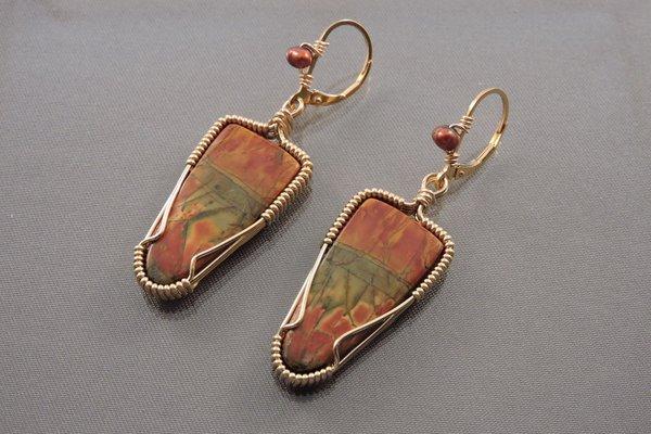 Cherry Creek Jasper Earrings with Freshwater Pearls Bilindas