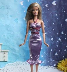 Fancy Barbie Dress-Modest Barbie Clothes-Lilac Shoes-Earrings