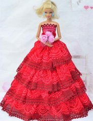Valentine's Day Barbie Gown-Flowers-Purse-Shoes-3 Pc Jewelry Set
