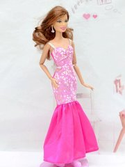 Barbie Dress-Modest Barbie Clothes-Pink Barbie Shoes-Earrings