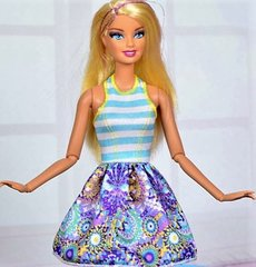 Barbie Dress-Modest Barbie Clothes-White Barbie Shoes-Earrings