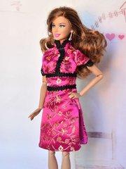 Satin Barbie Dress-Modest Barbie Clothes-Barbie Shoes-Earrings