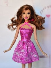 Pink Sparkly Barbie Dress-Modest Barbie Clothes-Shoes-Earrings