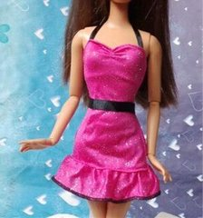 Sparkly Barbie Dress-Pink Barbie Shoes-Earrings
