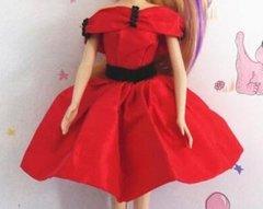 Red Satin Barbie Dress-Red Barbie Shoes-Pearl Earrings