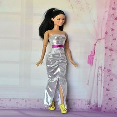 Silver Barbie Gown-Modest Barbie Clothes-Barbie Shoes-Earrings