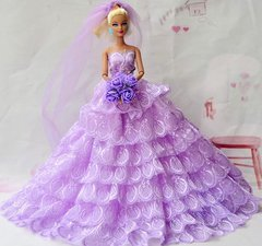 Barbie Wedding Dress-Veil-Flowers-Purse-Shoes-3 Pc Jewelry Set