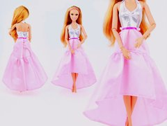 Pink Satin Barbie Dress-Modest Barbie Clothes-Shoes-Earrings