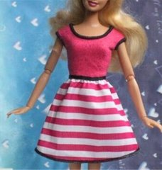 Pink Barbie Dress-Barbie Shoes-Pink Pearl Earrings