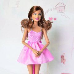 Pink Barbie Dress-Modest Barbie Clothes-Barbie Shoes-Earrings