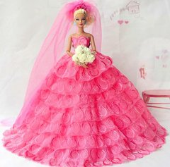Pink Barbie Wedding Dress-Flowers-Veil-Shoes-Purse-Jewelry Set