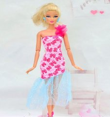 Fun Barbie Dress-Barbie Shoes-Pearl Earrings