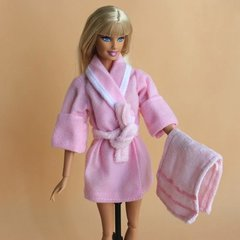 Barbie Bathrobe-Modest Barbie Clothes-Belt-Towel-Pink Slippers