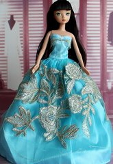 Baby Blue Barbie Gown-Barbie Shoes-Pearl Earrings