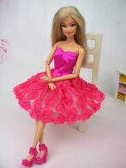 Pink Roses Barbie Dress-Shoes-Earrings-Purse