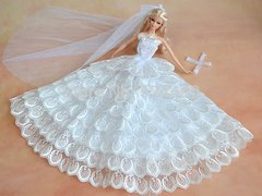 Barbie Wedding Dress-Flowers-Veil-Gloves-Shoes-Purse-Jewelry