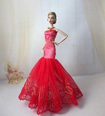 Elegant Valentine's Barbie gown-Purse-Shoes-3 Pc Jewelry Set