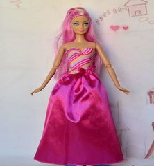 Pink Barbie Gown-Modest Barbie Clothes-Pink Shoes-Earrings