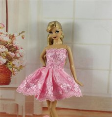 Pink Lace Barbie Dress-Barbie Shoes-Earrings