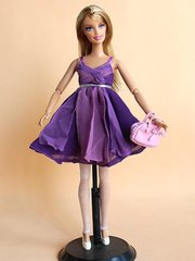 Purple Barbie Dress-Pocketbook-Barbie Shoes-Sparkly Tights