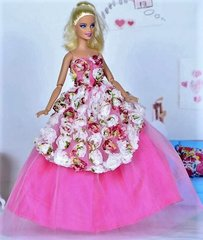 Barbie Gown-Purse-Barbie Shoes-Pink Pearl Earrings